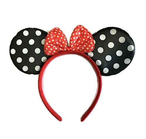 Mickey And Minnie Adult Costumes (Rush Dance Mickey Minnie Mouse Birthday Party Favor Bow Accessories Headband (Black with White Polka Dots))
