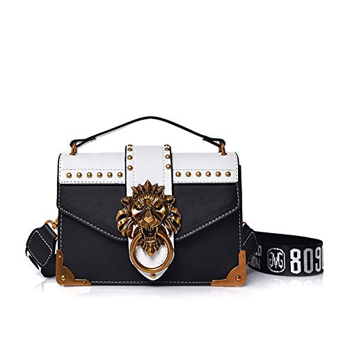 - ASPLOU Small Designer Crossbody Bags For Women Punk Shoulder Bag Ladies Handbags Lion Head Ring Bags