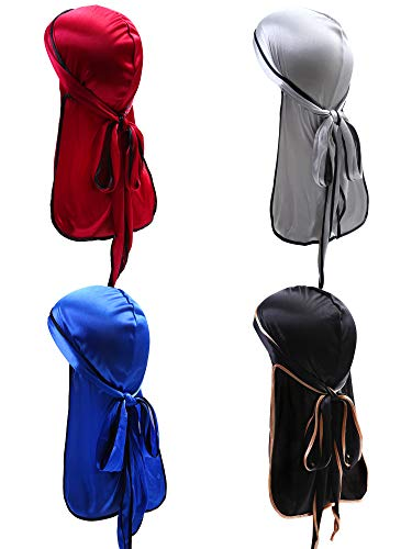 URATOT 4 Pieces Silky Soft Durag Cap Headwrap with Long Tail Silky Pirate Durag Cap for Mens or Womens (Color Set a) (4 Piece Pirate Set)