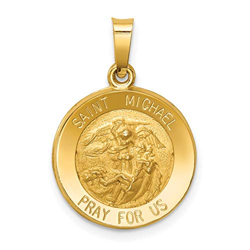 - 14k Yellow Gold Hollow Saint Michael Pray For Us Words On Round Medal Pendant 17x15mm