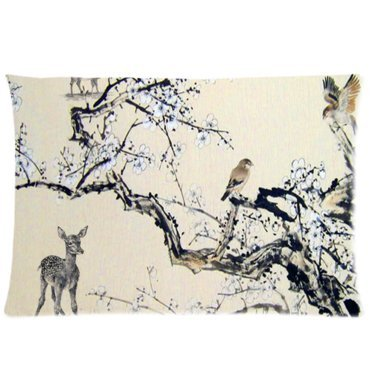 ZhouBrand Classic Chinese Plum Blossom Wintersweet Custom Film Movie Star 20 by 36 Inch Zippered Cotton And Polyester Rectangle Pillowcases Protector Case