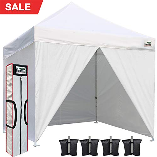 Eurmax 10 x 10 Pop up Canopy Commercial Tent Outdoor Instant Canopies Party Shelter with 4 Zippered Sidewalls and Carry Bag Bonus Canopy Sand - Canopy Enclosed Silver