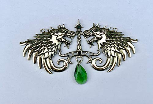 Wolf of Fire and Ice Copper & Green Large Medallion/Game of Thrones Direwolf House Stark inspired costume jewelry ()