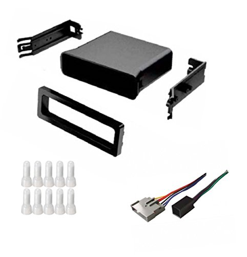 ASC Audio Car Stereo Dash Install Pocket Kit and Wire Harness for Installing an Aftermarket Single Din Radio for some Ford Mustang with Factory Premium Amp - Compatible Vehicles Listed -