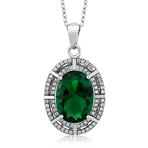 (Sterling Silver Oval Green Simulated Emerald Pendant Necklace (6.94 cttw, With 18 Inch Silver Chain))