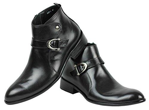 En cuir véritable pour homme Noir poli boucle latérale avec fermeture Éclair latérale Chaussures formelles
