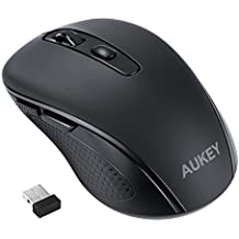 AUKEY Mini Wireless Mouse, Optical Cordless Mouse with USB Nano Receiver, for Notebook, PC, Laptop, Computer, Macbook- Black