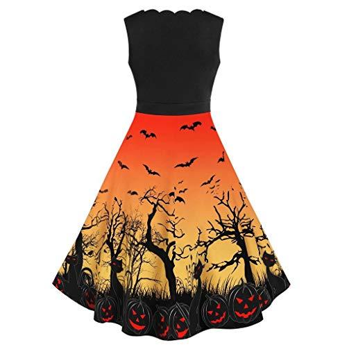 VEKDONE Women Halloween Costume, Vintage 1950's Sleeveless Bat Spider Pumpkin Skeleton Printed Rockabilly Party Dress(Yellow,XX-Large