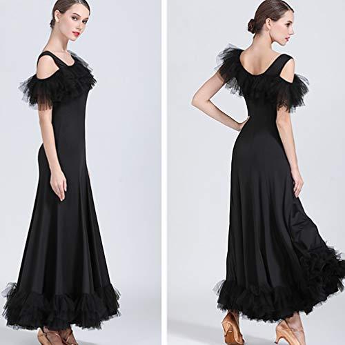 Robe Épaules Costume Unique Pour Valse xl Pratique Salon Sens Professionnel Femme Performance Danse Black Wqwlf De Dancewear Sociale AqxwSwB