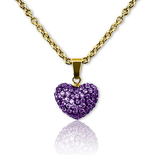 Crystal Heart Necklace Best Valentines Day Gifts for Women & Girls- 18k Gold Plated Fashion Jewelry Pendants