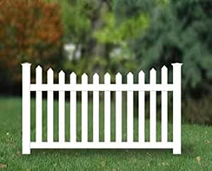 Amazon.com: Vinyl White Traditional Picket Fence 4ft H x