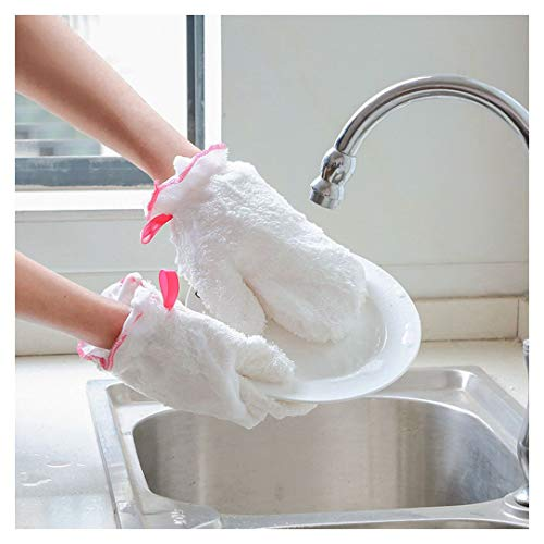 Aviat Dishwashing Gloves,1 PC Cleaning Gloves Brush Bamboo Fiber Scrubbing for Bowl Dishes,Reusable&Waterproof&Oil-Free Wash with Scrubbers for Washing Universal Kitchen,Bathroom,Car&More,9''
