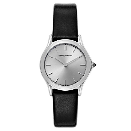 Emporio Armani Swiss Made Women's Quartz Stainless Steel and Leather Dress Watch, Color:Black (Model: ARS7013)