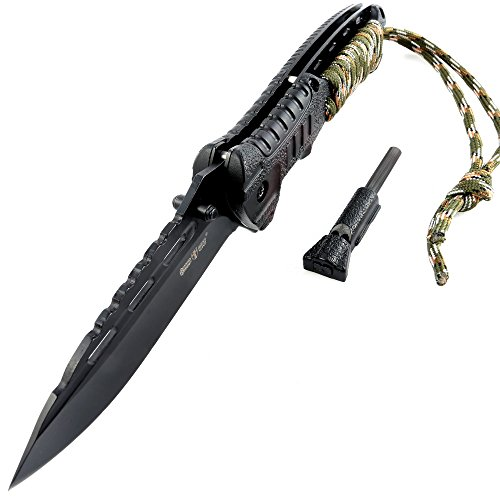 Grand Way Survival Camping Knife with fire Starter - Tactical Outdoor Knife with Paracord Handle - Best 440c Stainless Steel Spring Assisted Hiking Knife for Army Military Emergency 6772 by Grand Way (Image #7)