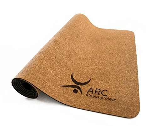 "CORK YOGA NON-SLIP MAT + FREE YOGA STRAP (72"" x 24"" x 4mm thick)- NATURAL RUBBER"