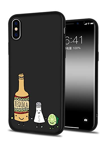 LuGeKe Cute Cartoon Print Phone Case for iPhone Xs Max Silicone Cases Cartoon Tequila Bottle Friends Pattern Cover Shock Absorption Flexible Black Skin Frame