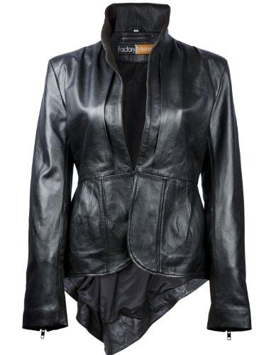 FE FlamGlam Stylish Womens Black Leather Blazer | Single-Breasted Designer Ladies Coat Jacket