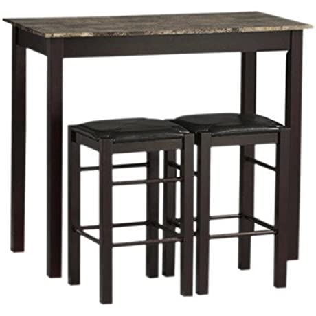 Charlton Home 3 Piece Prosser Collection Faux Marble Counter Height Dining Set Espresso Finish