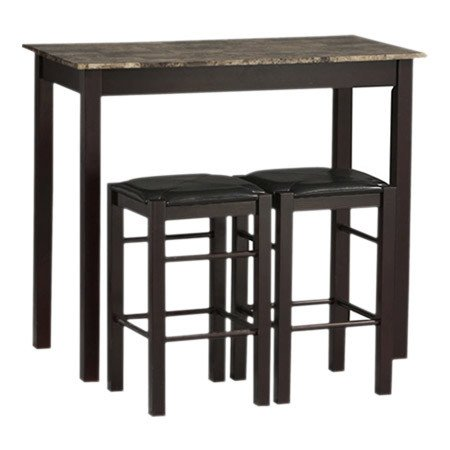 Charlton Home 3 Piece Prosser Collection Faux Marble Counter Height Dining Set, Espresso finish