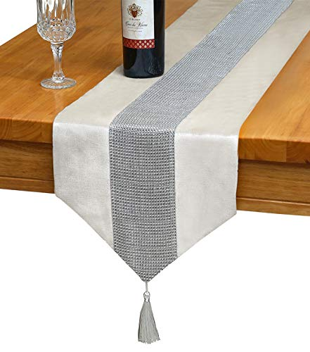 OZXCHIXU TM 13inch x 72inch Table Runner with Diamante Strip and Tassels (Beige) (Dining Placemats Room)