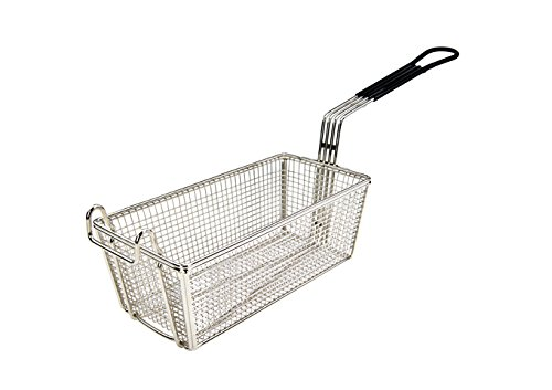 "Tiger Chef Stainless Steel Fry Basket 11"" x 5 3/8"" x 4 1/8"" With 10-Inch black plastic handle"