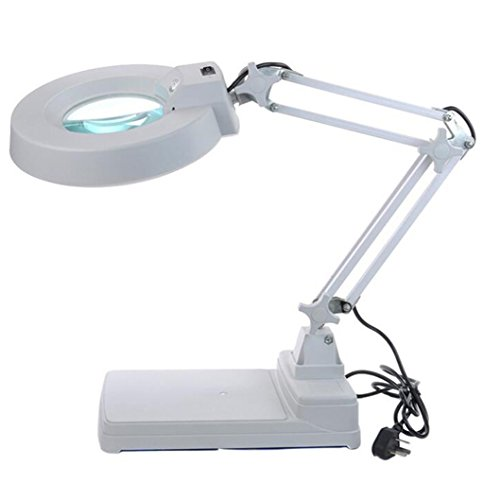Zorvo Desktop Magnifier Lamp with LED Light LED Magnifying Lamp Folding Magnifier Desktop Lamp 10 X Magnification Adjustable Swivel Arm for Desk Table Task Craft or Work Bench