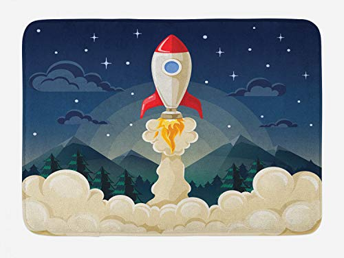 Ambesonne Outer Space Bath Mat, Rocket Taking of to Explore The Universe Woodlands and Mountains in Backdrop, Plush Bathroom Decor Mat with Non Slip Backing, 29.5 W X 17.5 L Inches, Multicolor