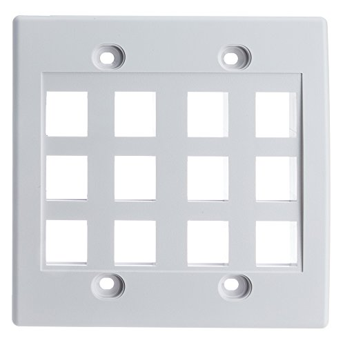 CableWholesale Keystone Wall Plate, White, 12 Port, Dual Gang
