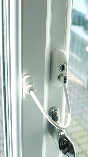 Window Door Restrictor Cable, Security Lock And Key, Baby/Child Safety, Multiple Colors - White by Canzak (Image #3)