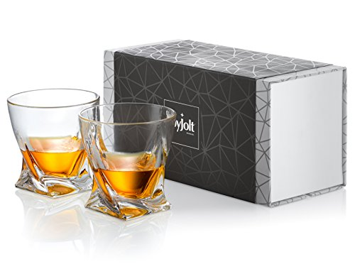 JoyJolt Atlas Crystal Whiskey Glasses, Old Fashioned Whiskey Glass 10.8 Ounce, Ultra Clear Crystal Scotch Glass for Bourbon and Liquor Set Of 2 non-leaded crystal Glassware ()