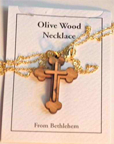 Double Layered Orthodox Budded Olive Wood Cross Pendant With Gold Plate (Gold Plate Budded Cross)