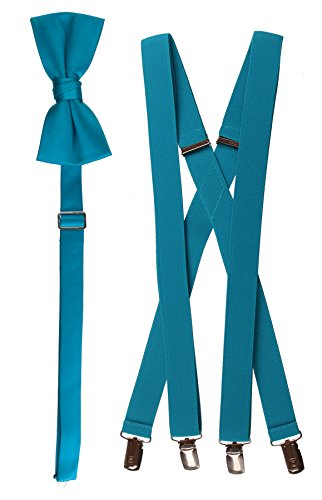 Tuxgear Mens Bow Tie and Suspender Set Combo, Turquoise, Men's 48 Inch (48