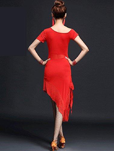 Whitewed Voir À Travers La Salsa Latine Diviser La Jambe Jive Robes De Costumes De Sport De Danse Rouge