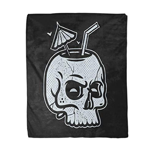 50×60 Inches Flannel Throw Blanket Skull Drink Cup Tattoo Stamp Shirt Print Black Traditional Apparel Umbrella Cocktail…