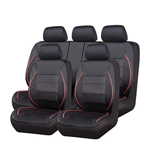 CAR PASS Universal FIT Piping Leather Car Seat Cover, for suvs,Van,Trucks,Airbag Compatible,Inside...