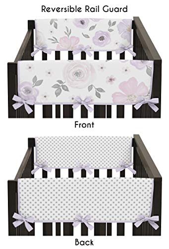 Sweet Jojo Designs Lavender Purple, Pink, Grey and White Polka Dot Side Crib Rail Guards Baby Teething Cover Protector Wrap for Watercolor Floral Collection - Set of 2 - Rose Flower Polka Dot