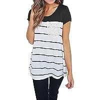Hount Women's Casual Crewneck Short Sleeve Color Block Striped Top Tunics Blouse T-Shirts