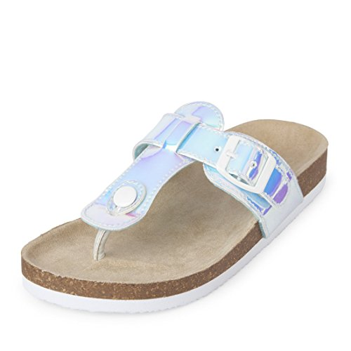 Kids Thongs (The Children's Place Girls' BG Thong Luna Flat Sandal, Silver, Youth 12 Medium US Big Kid)