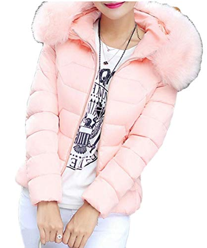 Jacket Padded Down EKU Short Fur Quilted Pink Women's Collar Faux Puffer Hooded pw0qv