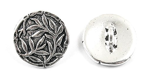 TierraCast Pewter Buttons-ANTIQUE SILVER BAMBOO 16mm (2)