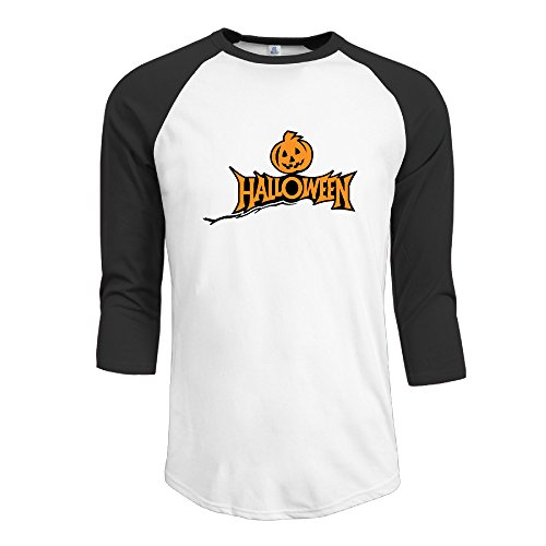 Bekey Men's Halloween Pumpkin Raglan Baseball T-shirtsTee Raglan Black - Large