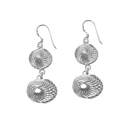 Studs Spinning Jewelry (Double Spiral Drop Earrings Spinning Multirow Loops Rhodium on Sterling Silver)