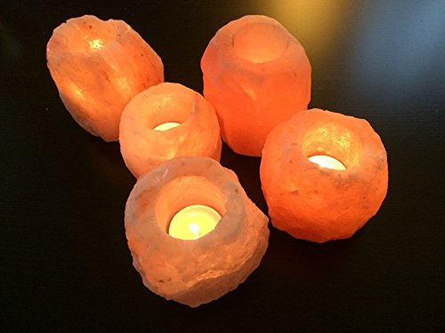 Magic Salt  4 X Salt Candle Tea Light HOLDERS 100 % Premium And Fine Quality Natural Pink HIMALAYAN CRYSTAL ROCK SALT with Plastic Feet ,Specially CRAFT in Same Size and Weight (H3.5 W3.5)Inch Aprox,Best Gift for Loved Ones