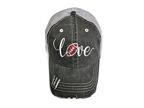 White/Brown Glitter Football Love Distressed Look Grey Trucker Cap Hat Sports by Spirit Caps