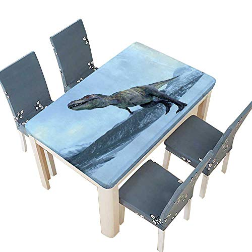 PINAFORE Indoor/Outdoor Polyester Tablecloth Tyrannosaurus in ice Age Table Cover W73 x L112 INCH (Elastic Edge) -