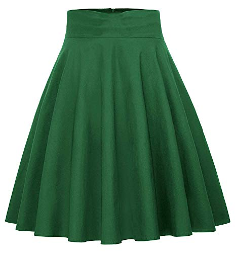 BI.TENCON Vintage Skirts Cotton A-Line Midi Skirts with Pockets for Women Green S ()