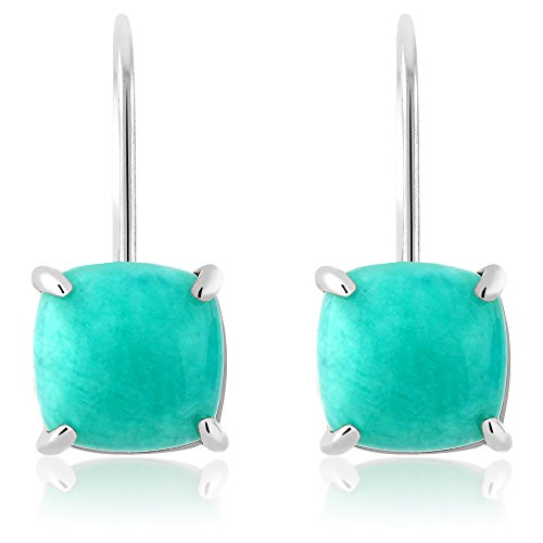 8.75 Ct 925 Sterling Silver Cabochon Square Amazonite Earrings