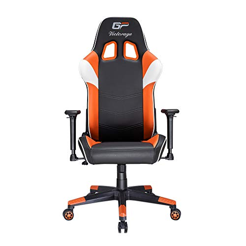 VICTORAGE Gaming Chair GP Series- Professional & Textured- Gaming/Streaming - Long time Sitting- Inspired by Racing car- Ergonomic Design- Rocking Function (Orange) VICTORAGE