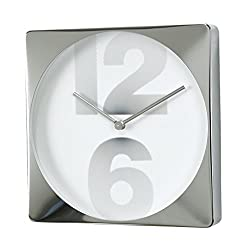 Time Concept 12 Square Number Wall Clock - Silver - Metal Steel Frame, Analog Time Display, Home Décor