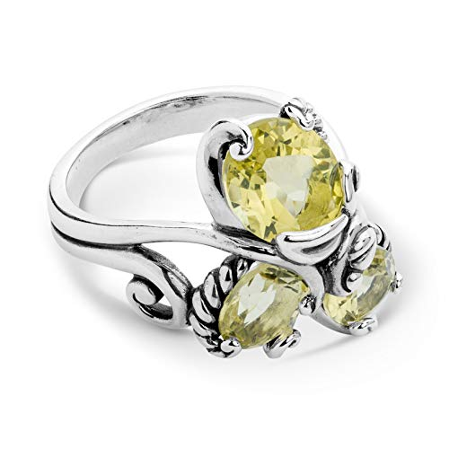 Quartz Ring Sterling Silver Lemon - Carolyn Pollack Sterling Silver Lemon Quartz 3-Stone Cluster Ring Size 6